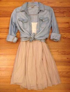 Cute outfit • skirt • denim shirt • knotted • girl • teen • summer • sunshine