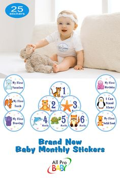 Brand new baby monthly stickers with important milestones and holidays.  Water and scratch resistant. Special matte surface won't cause glare on photos. Available now at http://www.amazon.com/gp/product/B01E4JVB64/ref=as_li_qf_sp_asin_il_tl?ie=UTF8&camp=1789&creative=9325&creativeASIN=B01E4JVB64&linkCode=as2&tag=rossoft01-20&linkId=QE6E3TTYWY4C6SNO
