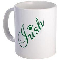 Irish With Paw Print Over I Mug