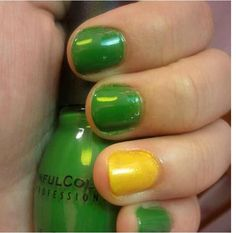 Sinful colors collection. Exotic Green and yellow.  Nails.