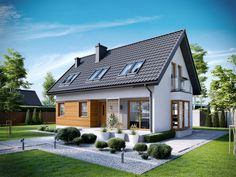 Projekt domu AC Liv 7 - DOM AF7-74 - gotowy projekt domu Small House Plans, House Floor Plans, Home Design Decor, House Design, Cottage Extension, Small House Exteriors, Stucco Homes, Attic House, Prefabricated Houses