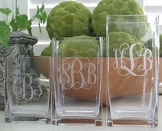 Monogrammed Square Glass Vase. Personalize this vase with either a monogram or single initial and you have a gift that will be treasured for so many occasions -- housewarmings, teachers, bridesmaids, hostesses or any kind of thank you