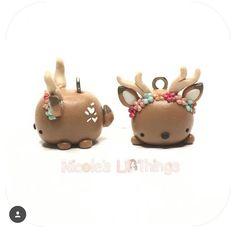 Petit cerf fimo / couronne de fleurs / modèle tsum tsum