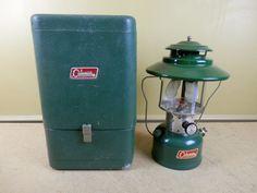 Vintage Coleman 228F Camp Lantern & Green Metal Carry Case 1966 Camping Light #Coleman