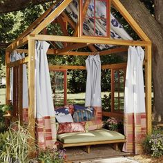 I like how they did the curtains on this gazebo. Gives me some ideas on what to do wit our gazebo, except ours is stucco which will be a bit more challenging.