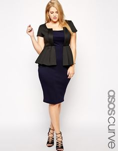 9f1ce4bc2c7 ASOS CURVE Contrast Scuba Peplum Dress Stylish Plus Size Clothing