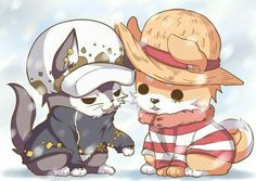 Law, Luffy, cute, wolf, cat, neko, dog, snowing, winter; One Piece