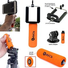 AccessoryBasics SNAPII Smartphone Holder Mini Hand Grip Stabilizer  GOPRO Tripod Adapter for Apple iphone 7 Plus 6s 3 SE Samsung Galaxy S8 S7 Edge LG Fits Hero 4 5 Session Camera ** Read more reviews of the product by visiting the link on the image. Note: It's an affiliate link to Amazon