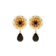 Dolce & Gabbana Teardrop crystal-embellished earrings (1,680 CNY) ❤ liked on Polyvore featuring jewelry, earrings, black gold, dolce gabbana earrings, stud earrings, studded jewelry, floral earrings and filigree earrings