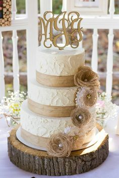 Lace Wedding Cakes 2019 Most Popular Wedding Cakes You Will Love to Incorporate Into Your Big Day---Rustic wedding cake with organic textures and burlap flowers, shapes and earthy tones, spring country wedding ideas Wedding Cake Rustic, Rustic Cake, Cool Wedding Cakes, Wedding Cake Designs, Wedding Ideas, Trendy Wedding, Wedding Vintage, Wedding Details, Wedding Colors