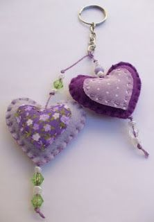 heart felt and fabric keychain