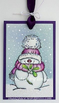 Sweet Snowman Tag from the Snail's Space blog. #EllenHutsonLLC #TwelveTagsofChristmasWithaFeminineTwist