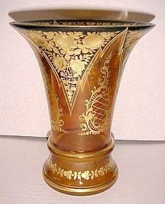 Váza * amber sklo, ručně malované zlatem * Bohemia