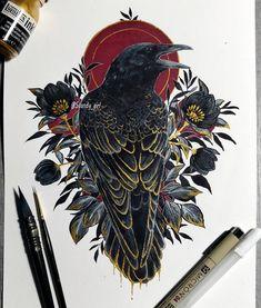 Only a poor memory works backwards Tattoo Drawings, Art Drawings, Mononoke, Tattoo Und Piercing, Raven Tattoo, Rabe, Ink Art, Art Inspo, Amazing Art