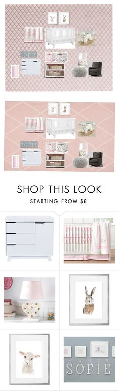 """Nursery Pink"" by hanli29 on Polyvore featuring interior, interiors, interior design, home, home decor, interior decorating, Pottery Barn and Monique Lhuillier"