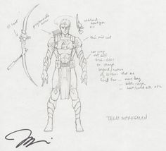 Jim Lee Character Design Sketch for DCUO Comic Art