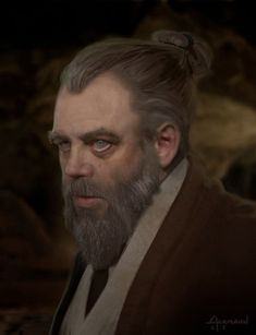 """Concept art of an aged Luke Skywalker in Jedi robes from """"Star Wars Episode VII The Force Awakens"""" (2015)."""