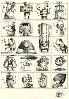 PK_M Collection on Behance: by Paride Bertolin Monster Sketch, Monster Drawing, Monster Art, Character Illustration, Illustration Art, Illustrations, Monster Illustration, Cool Drawings, Drawing Sketches