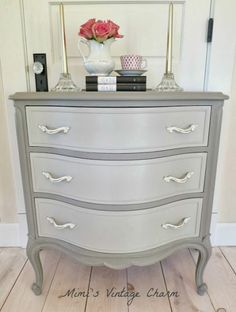 Soft two-tone gray paint to update this dresser, love it.