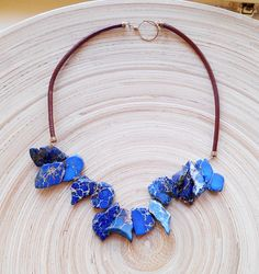 Hada gemstone beaded leather boho chic necklace, blue magnesite, brown cowhide leather goldfill chocker, gift for her wire wrapped statement