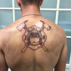 First session done on this firefighter crest with helmet and crossed axes.  Next session will include some shading and plenty of RED INK!  Michaelbalestattoo@gmail.com