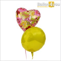 Muttertagsbukett mit bunten Blumen       Alles Gute zum Muttertag! In diesem Jahr werden Ballons statt Blumen geschenkt, aber nicht einfach irgendwelche. Diese hochwertigen Folienballons gehen schon heliumgefüllt auf die Reise zur weltbesten Mama. Den Herzballon mit Aufschrift begleitet dabei ein knallig gelber Rundballon. Das perfekte Duo um die Glückwünsche zum Muttertag zu überreichen.