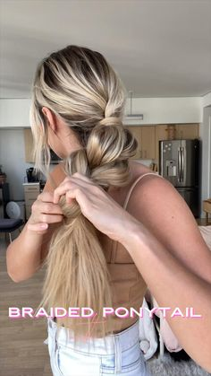 How to create a thick braided ponytail using just a few products: Pop & Lock (makes hair color pop and transforms texture) and Cult Favorite Color Safe Hairspray (Strengthens hair and adds grip for the perfect braid! Work Hairstyles, Easy Hairstyles For Long Hair, Braided Hairstyles, Wow Hair Products, Aesthetic Hair, Braided Ponytail, Hair Hacks, Hair Inspiration, Curly Hair Styles
