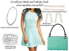 Miche Elaine classic shell paired with Valeska charmed necklace and dancing raindrops cuff