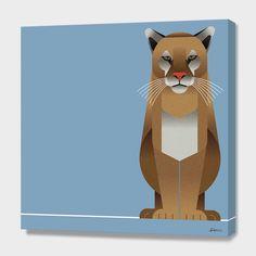 """""""Felis concolor a.k.a. Puma"""", Exclusive Edition Canvas Print by Rodrigo Fuenzalida - From $69.00 - Curioos"""