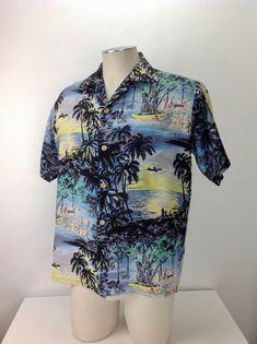 d974a21f8 Vintage 1950's Hawiian Shirt / by IOLANI Sportswear / Colorful Vignettes of  Island Scenes / Loop Collar / Men's Size Medium
