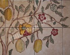 Large ceramic tile Mural hand painted in by CountryVillaCeramics
