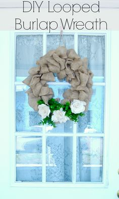 DIY burlap wreath.  Takes less than 15 minutes and doesn't require any glue.