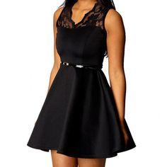 Sexy Black Sleeveless Lace Patchwork Cocktail Fit & Flare Dress Party Dresses Femininas Vestido De Festa