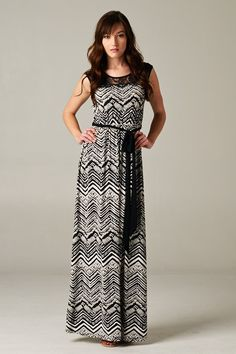 Chevron Dress in Black & White
