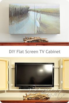 DIY Flat Screen Hidden behind two painted canvases (box wall-design instructions found here).