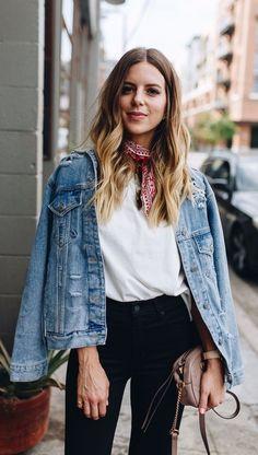 fall street style. denim jacket. scarf. white tee. black denim.