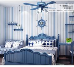 Fascinating blue bedroom design ideas and practical tips for the interior Bedroom Wallpaper Blue And White, Pink Stripe Wallpaper, Bedroom With Bath, Blue Bedroom, Bedroom Sofa, Living Room Bedroom, Cottage Bedrooms, Hangzhou, Small Bedroom Interior