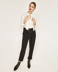 Image 1 of TROUSERS WITH BUCKLE AT THE WAIST from Zara