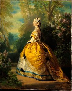 The Empress Eugénie (Eugénie de Montijo, 1826–1920, Condesa de Teba) Franz Xaver Winterhalter  (German, Menzenschwand 1805–1873 Frankfurt) Date: 1854 Medium: Oil on canvas Dimensions: 36 1/2 x 29 in. (92.7 x 73.7 cm) Classification: Paintings Credit Line: Purchase, Mr. and Mrs. Claus von Bülow Gift, 1978