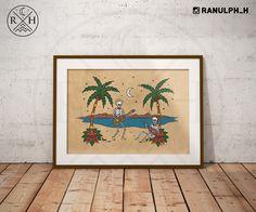 Muerto Mariachi's - Tropical beach palm tree skeleton music tattoo print