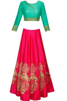 Red embroidered motifs lehenga with green blouse available only at Pernia's Pop Up Shop.