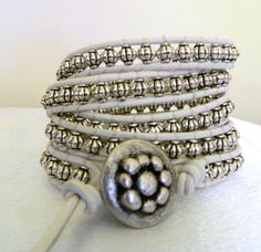 5X Leather Wrap Bracelet Silver Pewter Beads by CrystalFascination, $65.00