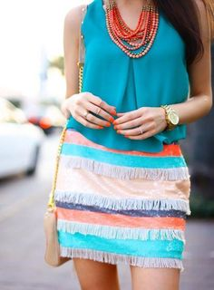 From live-breathe-fashion.tumblr.com ~ ...coral accents, coral accessories