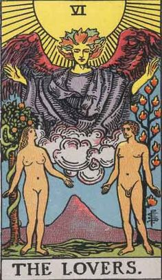 Pamela Colman Smith's illustrations for the classic Rider-Waite tarot, The Lovers: