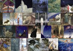 Pinned for later from artpassions.net:  Top Row: Edmund Dulac - Real Princess, Dreamer of Dreams, Entymologist's Dream, Little Mermaid, Stealers of Light.  Second Row: John Bauer - Leap the Elk, He Found Her Hiding in a Tree, Princess Tuvstarr, Into the Wide World, You Mean This Herb?  Third Row: Kay Nielsen - Three Trolls, Scheherazade, Story of a Mother, East o' the Sun West o' the Moon, Twelve Dancing Pricesses, Far Far Away  Bottom Row: Arthur Rackham - Unpublished Fairy, Fair Helena…