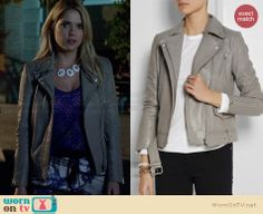 Hanna's grey leather jacket on Pretty Little Liars.  Outfit Details: http://wornontv.net/33635/ #PLL