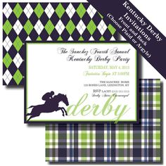 KENTUCKY DERBY Party - Printable INVITATIONS and Party Decorations - Preppy Plaid Argyle Navy Green - Race Horse and Jockey. $25.00, via Etsy.