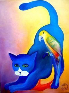 tomcat - Schilderij,  30x40 cm ©2010 door Tetiana Gorbachenko -                            Art Nouveau, paintings
