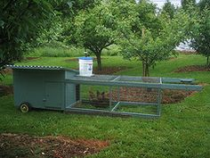 This is a version of chicken tractor...you move it around the yard so they can range, but not get taken by preditors or be in your garden.