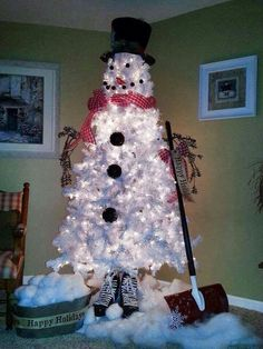 DIY.  Buy a white #christmastree, and add a top hat, 2 eyes, smile, mouth, scarf, and buttons, and you have a snowman christmas tree! Dentistry 4 Kids: Dr. Paul Bonner, DDS - pediatric dentist in Wichita Falls, TX @ childdswf.com